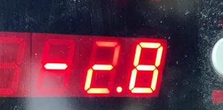 Minus 2,8 grader på Røros lufthavn 3. juli! Foto: Avinor.